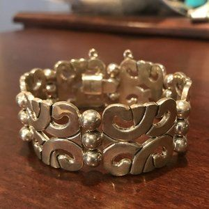 "QVC Artisan Sterling Swirl Link Bracelet 7.5"""
